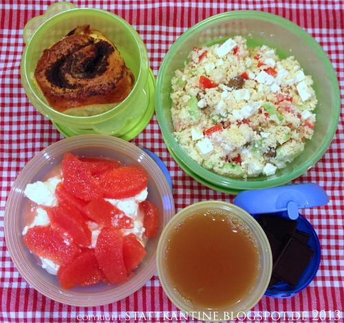 Stattkantine 27. März 2013 - Couscous-Salat mit Schafskäse, Hefe-Mohnrolle, Apfelsaft