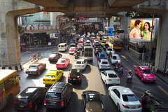 Traffic in Bangkok is pretty horrible, but at least it is colourful