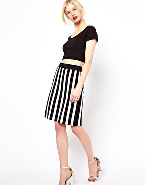 Boutique by Jaeger-Knitted Skirt in Stripe