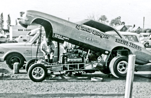 Rapid Ronnie Runyan Corvair Funny Car at Detroit Dragway