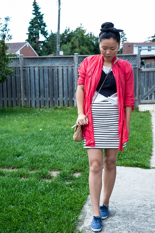 cropped top striped skirt
