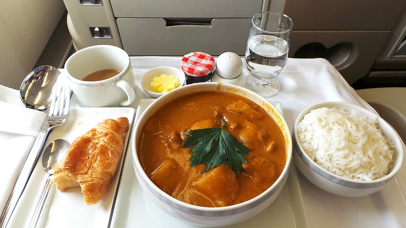 Chicken curry lunch on board Singapore Airlines