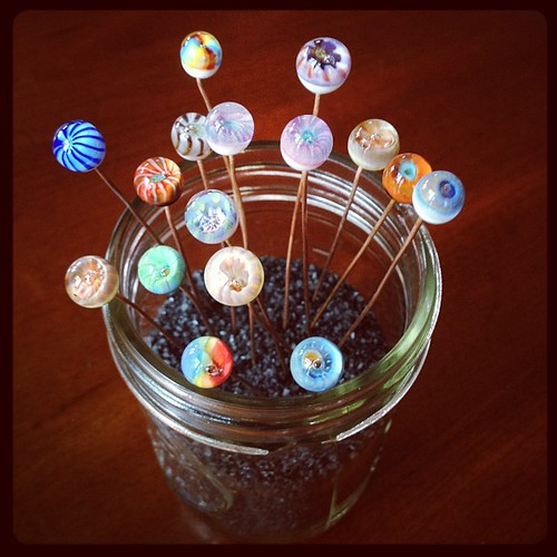 Glass headpin display #beadfest #glassaddictions #aje #artjewelryelements #lampwork