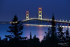 "Moonlight on ""Mighty Mac""  Mackinac Bridge   "" by Michigan Nut"