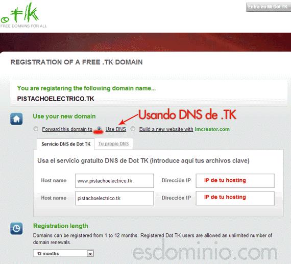 Tabién puedes usar las DNS de TK y poner la IP de tu hosting