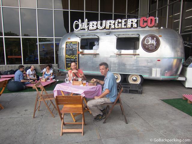 Karen and Eric enjoying their burgers