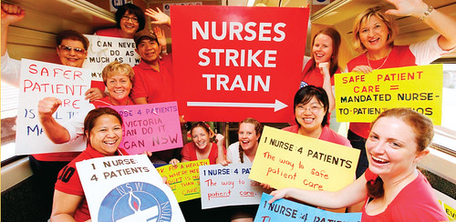 Australian RNs campaigning for ratios rented a train, picking up RNs at each stop on their way to a huge rally for safe staffing standards.
