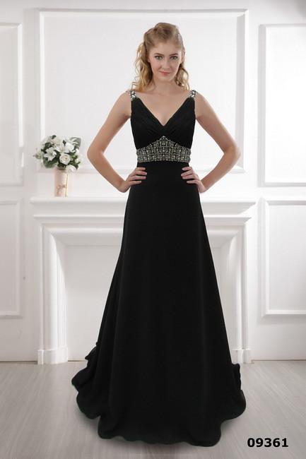 Svart klänning V-ringad klänning 2012 svart klänning varmt klänning