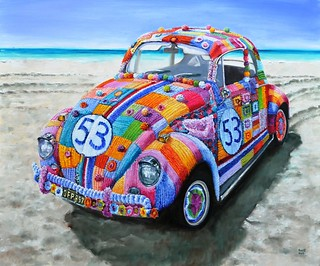 Herbie incognito (Yarnbombed VW beetle)