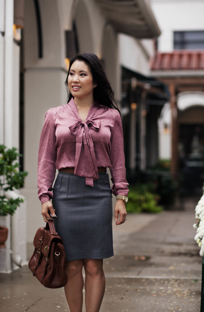 cute & little blog | loft pink polka dot bow tie neck blouse, gray pencil skirt, studded nude heels, outfit #ootd, petite fashion