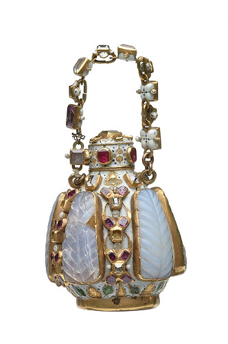 Jewelled scented bottle of white enamel and gold: 16th - 17th century