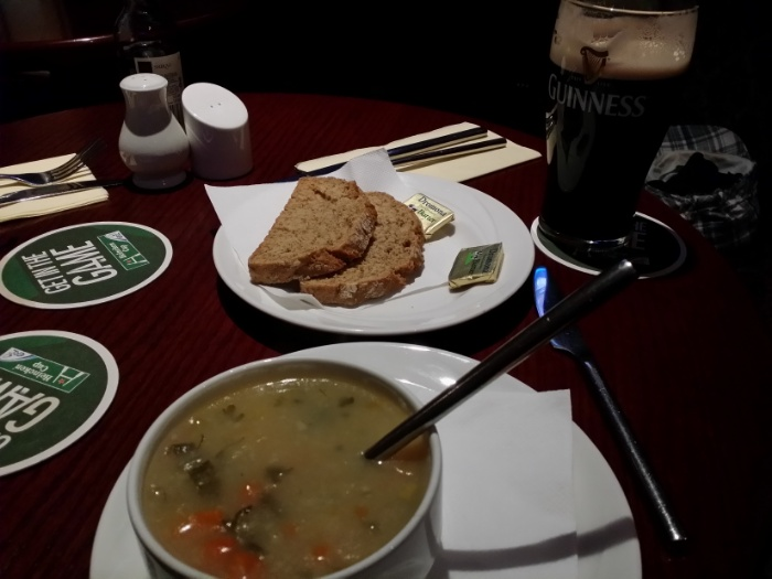 Seriously good homemade veggie soup (and mandatory Guinness).
