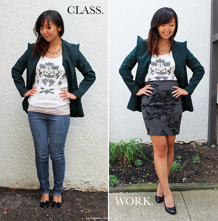 forest green blazer class and work outfit transition