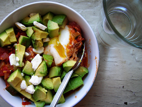 poached eggs shakshuka with zucchini