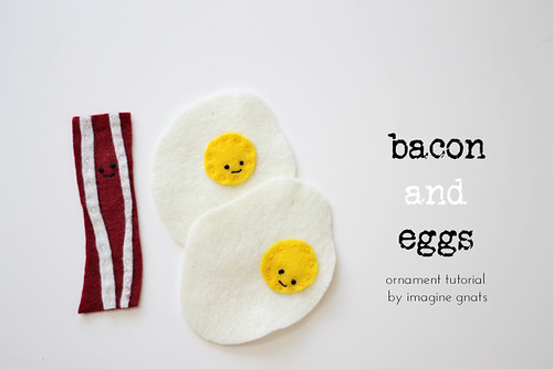 felt bacon and egg ornaments