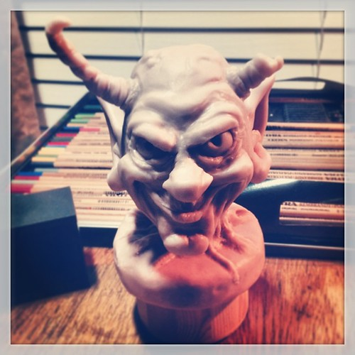 In progress polymer clay bust of a gargoyle/goblin
