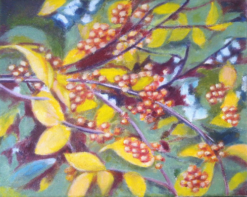 Branch with Golden Berries (Oil Bar Painting as of Dec. 29, 2013) by randubnick