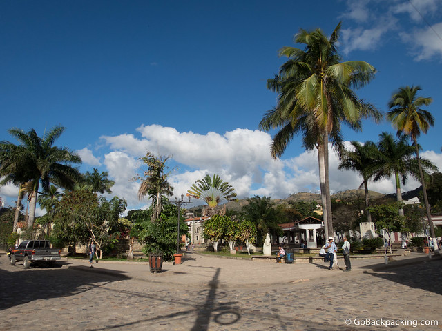 The main plaza in the town of Copan Ruinas, one kilometer from the Mayan ruins