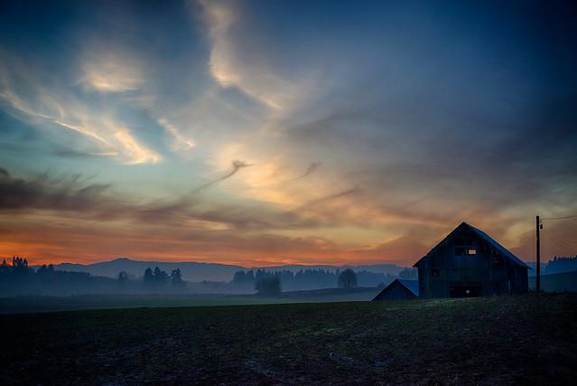 mist at sunset