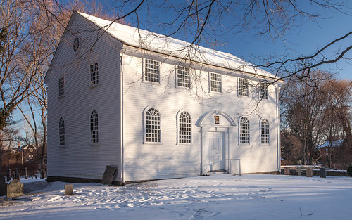 Old Narragansett Church, Wickford, RI, winter. by print57