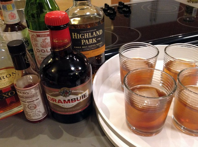 Hastings: calvados, scotch, sweet vermouth, Drambuie, Angostura and Peychaud's bitters