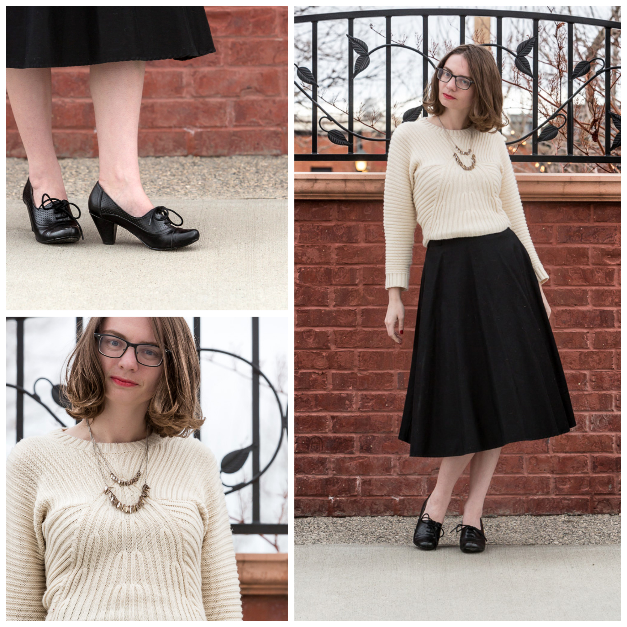 Cream Sweater, Crop Sweater, black skirt, ladylike, never fully dressed, withoutastyle, outfit, skirt,