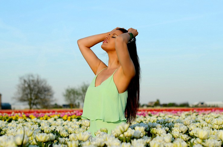 DSC_0164 Tulip fields Lisse, Mint Zara dress, Myca Couture