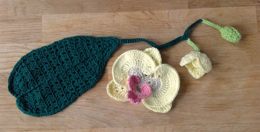 Suvis crochet orchid phaleonopsis orchid branch with leaf flower baby flower and bud ccuart Gallery
