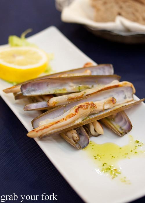 Navajas razor clams at Casa Elisa Restaurant in Santiago de Compostela, Spain