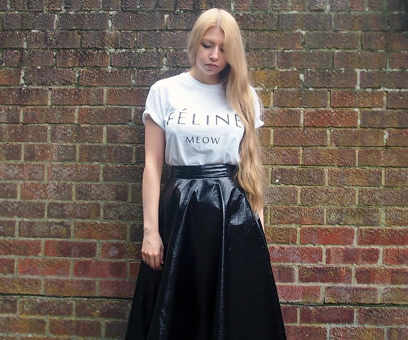 Sam Muses, UK Fashion Blog, London Style Blogger, Feline Meow T Shirt, Brian Lichtenberg, BLTEE, Dupe, eBay, Illegal Art Boutique, How to Wear, Styling Ideas, Outfit Inspiration, Primark, Patent Midi Skirt, A Line, High Waisted, Brogues, Jazz Shoes