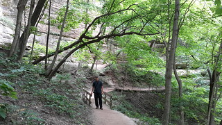 Hiking in beautiful Starved Rock State Park before the rain storm drenched us