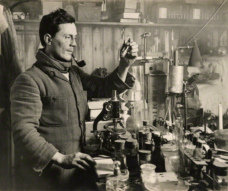Dr Edward Atkinson in his lab, during the Terra Nova Expedition 1910-1913 under command of Robert Falcon Scott