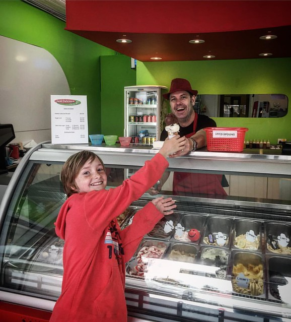 Oscar loves an ice cream but it took him 10 minutes to decide what flavour! Thanks to our favourite ice cream maker @garthusn . If you feel like a break on the way back from Frankston pop in and see Garth for an ice cream or coffee at Just Delicious Icecr
