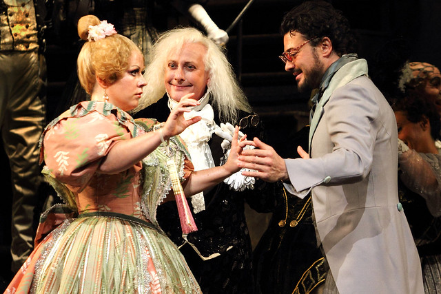 Sofia Fomina, Christophe Mortagne and Vittorio Grigòlo in Schlesinger's Les Contes d'Hoffmann, The Royal Opera © 2016 ROH. Photograph by Catherine Ashmore