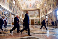 U.S. Secretary of State John Kerry walks through the Vatican on December 2, 2016, following a meeting with Pope Francis. [State Department photo/ Public Domain]