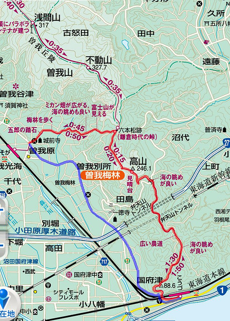 曽我丘陵地図