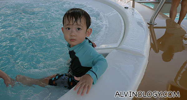 Asher having fun in the whirlpool