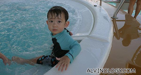 Asher having fun in the whirlpool