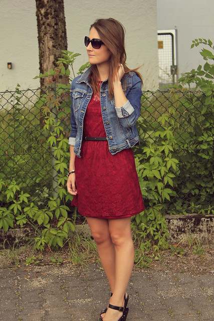 red dress and denim jacket