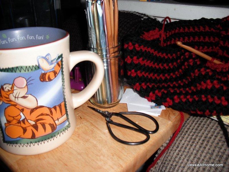 making-Max-hats-and-Tigger-coffee