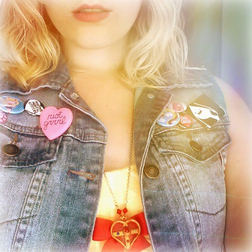 Magical girls need pink lipstick. @lulus dress, F21 vest. #ootd