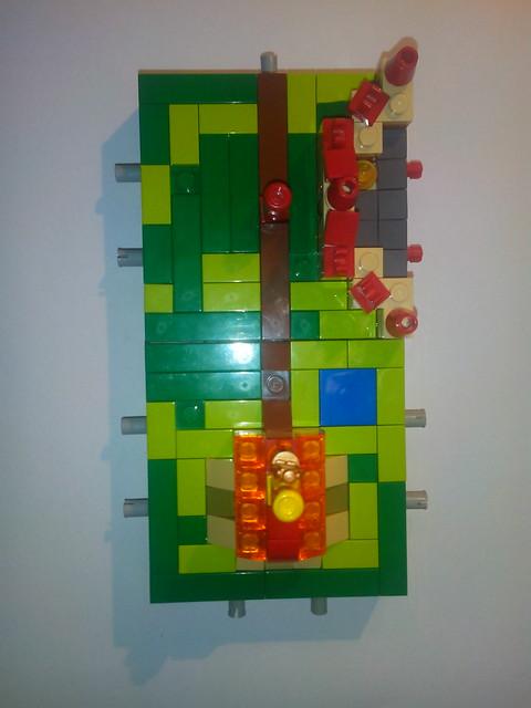 Tuiles Carcassonne en Lego : vue de dessus