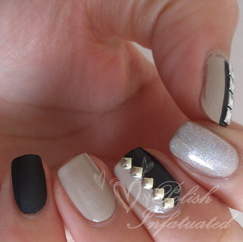 studded neutral and black