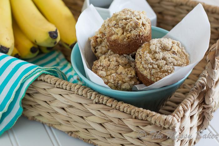 Banana Muffins with Walnut Streusel | www.themessybakerblog.com -8499