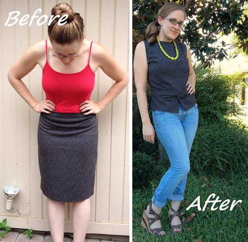 Tweed Peplum Top Before & After