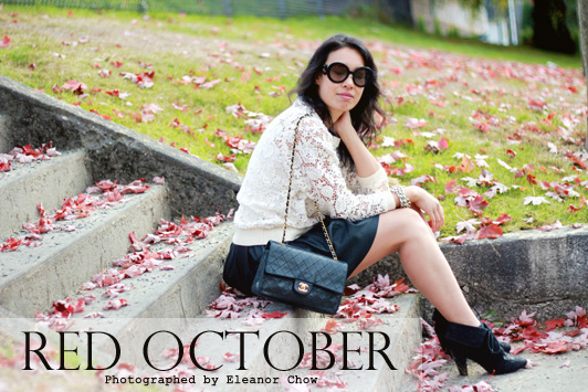 H&M crochet sweatshirt, ASOS faux leather skater skirt, Chanel lambskin 2.55 bag, J. Crew statement necklace, Prada Baroque sunglasses, H&M denim jacket, fall, fashion, layers, autumn, October