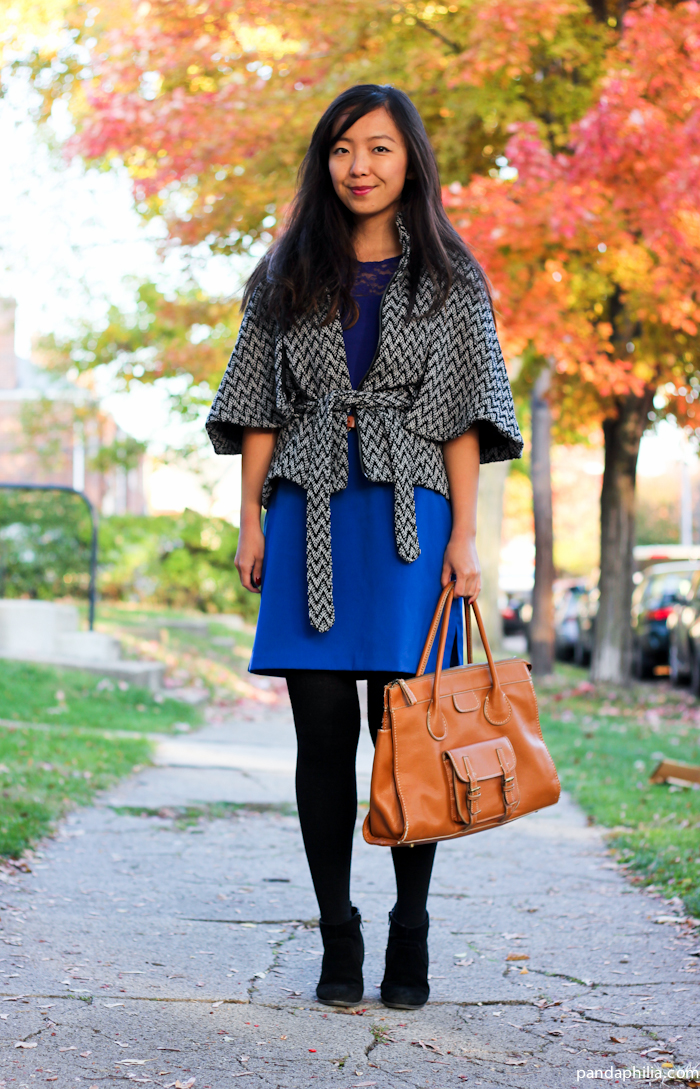 chevron tweed cape, cobalt skirt, camel bag