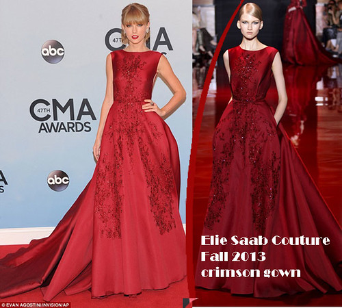 Taylor Swift in Elie Saab Couture Fall 2013 crimson gown