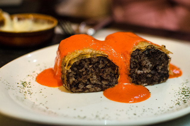 A salmarejo topped crepe filled with morcilla at Vinería San Telmo in Sevilla.