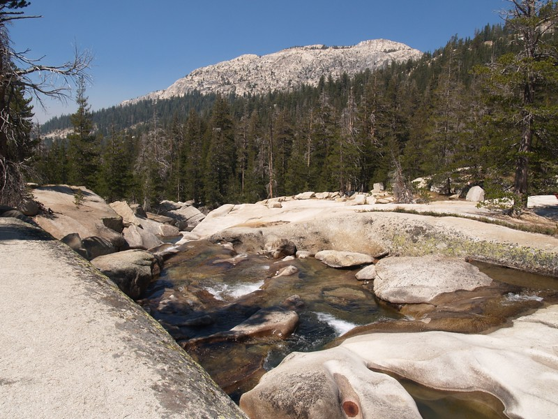 Worn granite from Return Creek in Virginia Canyon alongside the PCT